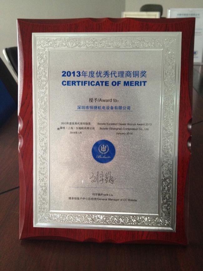 2013代理商铜奖